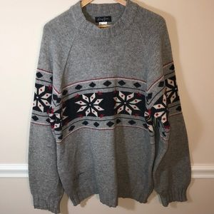 Sean John Gray winter snowflake sweater Large